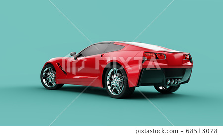 Back view of a red sport concept car on green background. 68513078