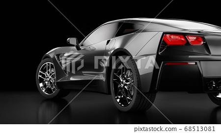 3d rendering of a modern black sedan car with studio light. 68513081