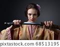 beautiful woman in traditional Japanese kimono 68513195