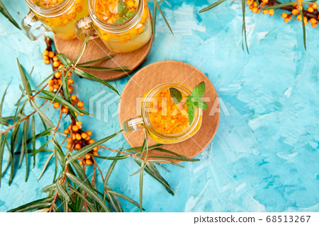 Vitaminic healthy sea buckthorn tea, immunity concept 68513267