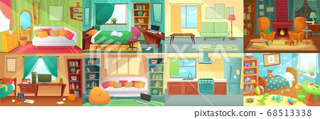 Room interior. Bedroom, living room, kitchen, kids bedroom with furniture. Teenage room with bed, table 68513338