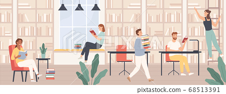 People in library. Men and women read book, students study with books and gadgets in public library interior vector concept 68513391
