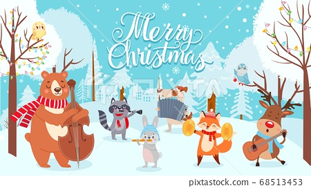 Animals celebrating christmas. Xmas cute card with happy animals musicians, winter forest with holiday decoration vector background 68513453