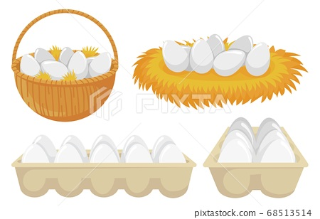 Eggs in nest and basket. Tray of chickens eggs. Open cardboard paper package with organic and natural products 68513514