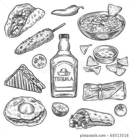 Mexican food. Sketch mexican national drink tequila and traditional food nachos, enchilada and burrito, tacos vintage isolated vector set 68513516