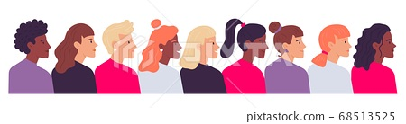 Profile women portraits. Diverse female heads side view. Cartoon characters of various nationality, hairstyle 68513525