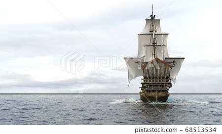 A medieval frigate sailing on a boundless blue sea. Concept of sea adventures in the middle ages. 3D Rendering. 68513534