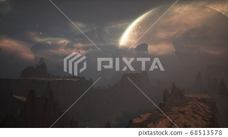 Panoramic landscape on the surface of an alien unusual planet. 3D Rendering. 68513578