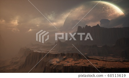 Panoramic landscape on the surface of an alien unusual planet. 3D Rendering. 68513619