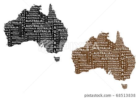 Map of continent Australia - vector illustration 68513838