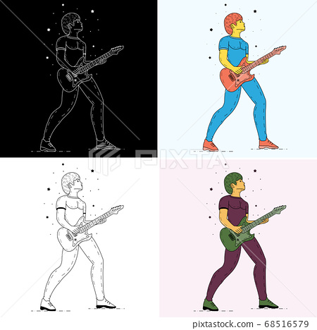 Rock star playing guitar. Musician vintage vector 68516579
