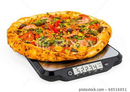 Kitchen Scales with Pizza. 3D rendering 68516851