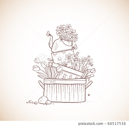 Flower bed made of old cooking pots and kettle. Doodle garden decoration in vintage style 68517538