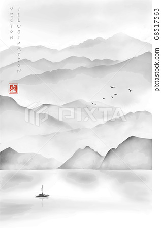 Landscape with misty mountains, fishing boat and flock of birds. Traditional oriental ink painting sumi-e, u-sin, go-hua. Hieroglyph - blossom. 68517563