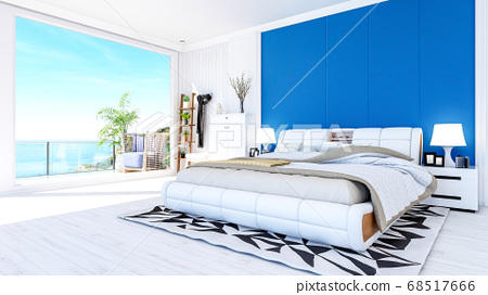 White modern contemporary bedroom interior in blue and white theme color with sea view terrace, 3D Rendering 68517666