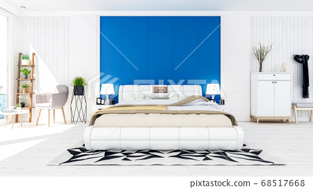 White modern contemporary bedroom interior in blue and white theme color with sea view terrace, 3D Rendering 68517668