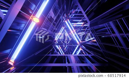 Clear Glossy Lighted Triangular Shaft 4k uhd 3d illustration background 68517914