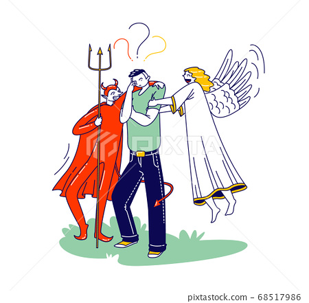 Male Character with Angel and Devil Behind of his Shoulders Whispering in Ear, Man Having Moral Dilemma Make Decision 68517986