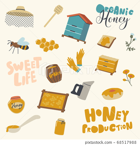 Set of Icons Honey Production and Beekeeping Industry. Wooden Hive, Dipper and Beekeeper Hat with Bee and Honeycombs 68517988
