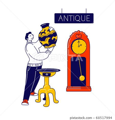 Man Visiting Antique Store, Flea Market or Garage Sale Choose Vintage Vase for Buying. Old Things Offer, Retro Stuff 68517994