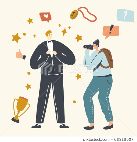 Popularity, Super Star Lifestyle. Male Character Vip Person Posing to Paparazzi Attacking him. Famous Actor or Celebrity 68518007