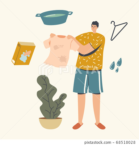 Male Character Holding Clothes with Stains Going for Washing or Cleaning. Household and Washing Clothing Chores, Laundry 68518028