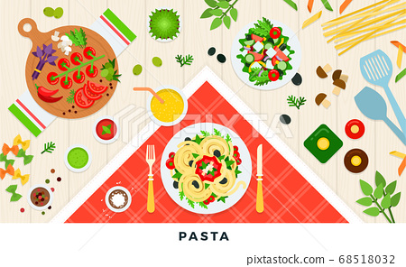 Pasta and ravioli cooking and ingredients. Spaghetti dishes isolated on white. Vector illustration 68518032