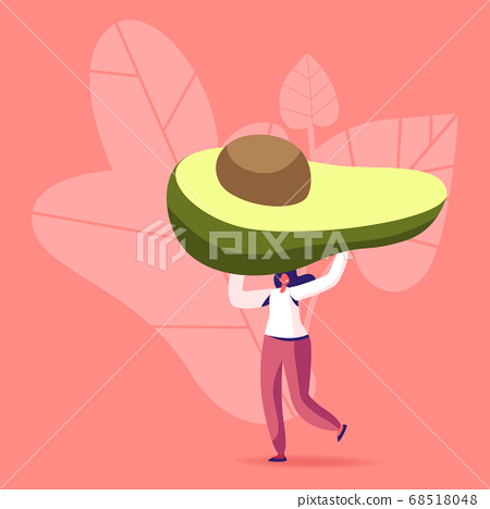 Tiny Female Character Carry Huge Avocado for Natural Mask or Eating. Vegetarian and Healthy Food Fortified Nutrition 68518048