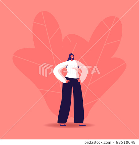 Young Woman Wearing Modern Formal Clothes Stand with Arms Akimbo on Waist. Youth Fashion, Urban Lifestyle Concept 68518049