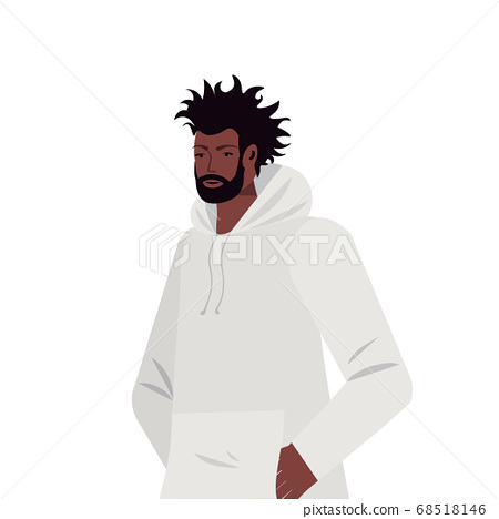 young man in casual trendy clothes african american male cartoon character portrait 68518146