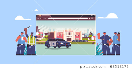 mix race policemen near digital city police station department building with police car web browser window 68518175