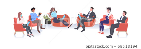 mix race businesspeople discussing during conference meeting keeping distance to prevent coronavirus epidemic 68518194