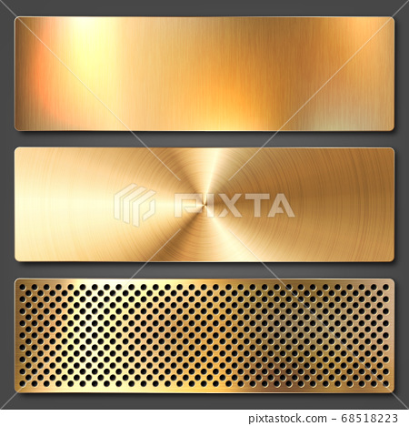 Realistic brushed metal textures set. Polished stainless steel background. Vector illustration. 68518223