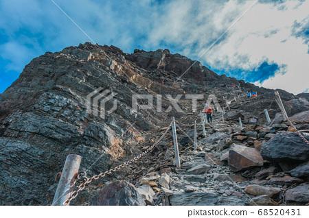 台湾百岳-玉山主峰 北峰 登山步道 碎石坡与东埔溪谷 68520431