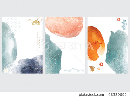 Abstract background with Japanese wave pattern and 68520892