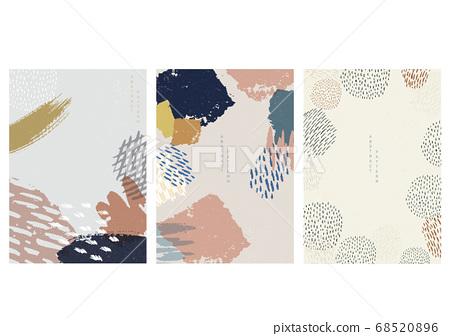 Brush stroke background with Japanese pattern 68520896