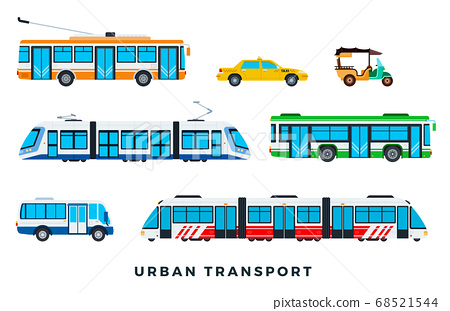 Public city transport. City cars and vehicles transport. Urban transportation icons set. Vector flat set illustration 68521544