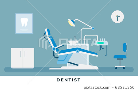 Medicine dental concept. Medical dental infographic. Dentist office with stomatology doctor workplace with professional equipment for tooth care. Vector illustrations and icons 68521550