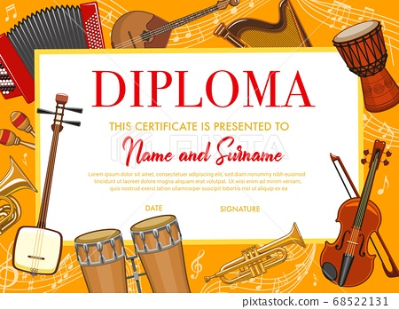 Education kids diploma with musical instruments 68522131