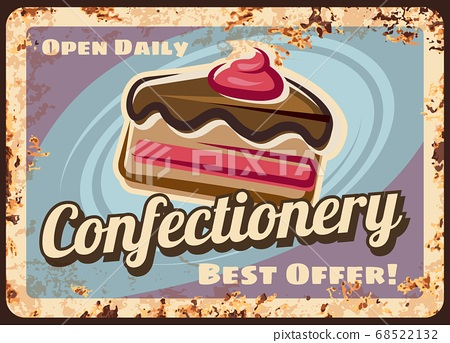 Confectionery or cafe rusty metal vector plate 68522132