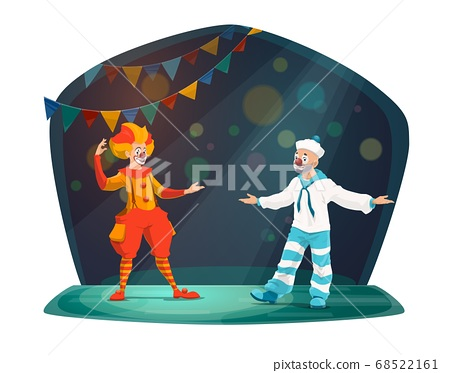 Big top circus clown performer characters on stage 68522161