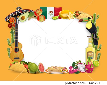 Cinco de Mayo vector frame, mexican holiday border 68522198