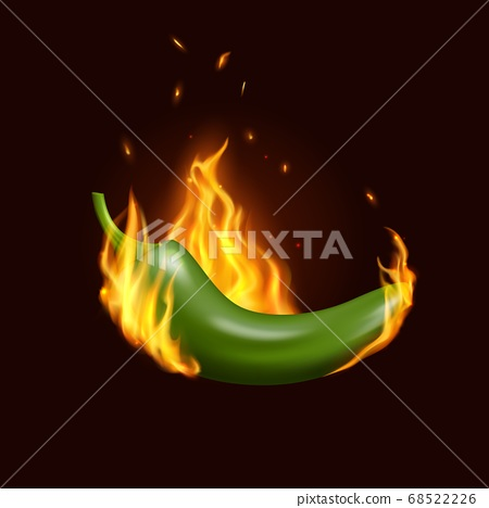 Jalapeno chili pepper in fire, Mexican cuisine 68522226