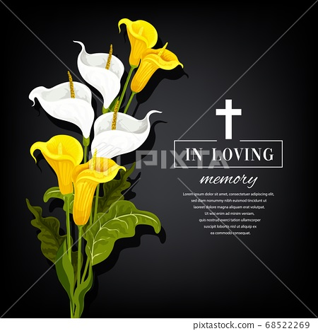 Funeral vector card with calla flowers, sorrowful 68522269