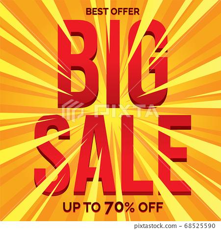 Big sale banner in flat design, background Vector 68525590