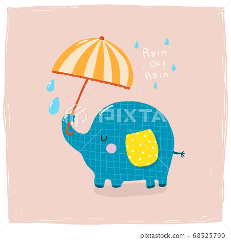 Elephant holding umbrella in the raining animal cartoon cute  68525700