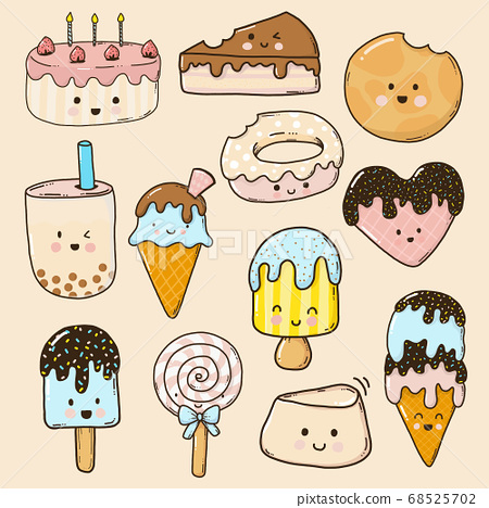 Dessert cartoon cute collection for kids 68525702