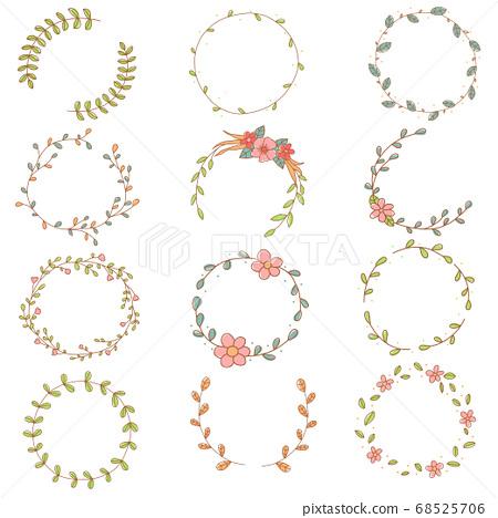 Flower wreath set hand drawn doodle 68525706