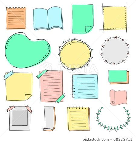 Blank paper border and frame doodle set 68525713