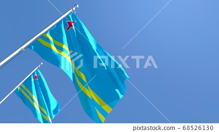 3D rendering of the national flag of Aruba waving in the wind 68526130